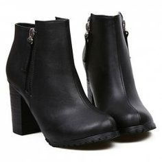 $16.77 Stylish Women's Short Boots With Black Chunky Heel and Side Zip Design