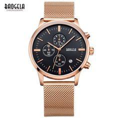 51e98ceb342 BAOGELA Chronograph men s quartz-watch stainless steel mesh band gold  watches Slim men watches Multi-function sports Wristwatche. Luxusní HodinkyPánská  ...