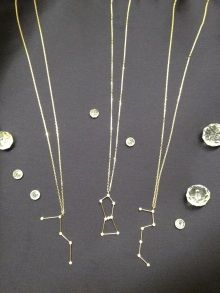 constellation necklaces!!! Cassiopeia upside down in her throne.