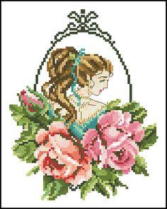 may rose fae Cross Stitch Angels, Cross Stitch Rose, Modern Cross Stitch, Cross Stitch Flowers, Cross Stitching, Cross Stitch Embroidery, Small Rose, Home Decor Wall Art, Faeries