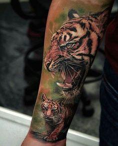 Wonderful Photorealistic Tiger and Cub Tattoo on Inner Arm