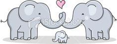 strong cohesive family / cartoon elephant / love Royalty Free Stock Vector Art Illustration