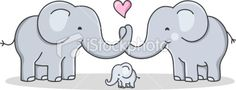 strong cohesive family / cartoon elephant / love Royalty Free Stock Vector Art Illustration