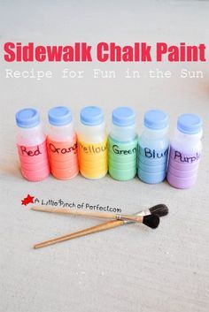 Homemade Sidewalk Chalk Paint Recipe for DIY Sidewalk Chalk. A perfect outdoor kids activity for spring and summer.