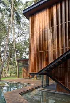 Gallery of Villa in the Palms / Abraham John Architects - 37 Timber Architecture, Timber Buildings, Tropical Architecture, Residential Architecture, Architecture Details, Facade Design, House Design, Building Facade, Paint Colors For Living Room