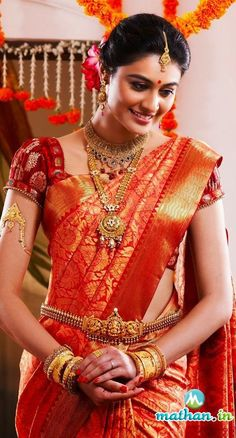 In south Indian wedding the brides prefer to wear heavy jewellery. Here are some beautiful collection of south Indian wedding jewellery set. South Indian Bridal Jewellery, Indian Bridal Sarees, South Indian Sarees, Indian Bridal Fashion, South Indian Bride, Indian Groom, Indian Dresses, Indian Outfits, Saree Wedding