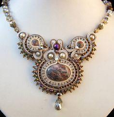 Leopardskin Jasper Soutache necklace in gray cream by CieloDesign, $175.00