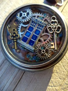 Doctor Who Themed Pocket Watch. Tardis Pocket watch. Tardis Pendant. Steampunk Pocket watch pendant. (50.00 USD) by EbrosChronicle