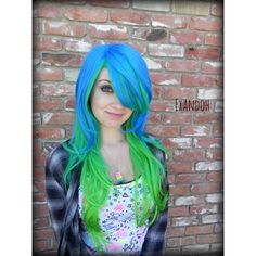 Sea Moss Long Wavy Wig, Mermaid Hair, Blue Green Ombre, Scene... ($145) ❤ liked on Polyvore