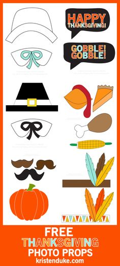 Thanksgiving Photo Booth Free Printables, for fun pictures with the group at dinner.