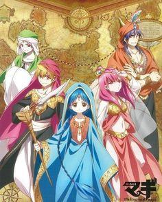 MAGI - sinbad, morgiana aladdin, alibaba, y ja'far Tv Anime, Anime Plus, Anime Love, Manga Anime, Sinbad Magi, Magi 3, Magi Adventures Of Sinbad, Magi Kingdom Of Magic, Aladdin Magi
