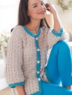 Up to 5x. Cluster Stitch Cardigan | 3/4 sleeves and contrast edging make this cardigan a perfect spring-to-summer garment! Shown in Bernat Satin.