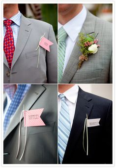 rose boutonniere and pocket paper flags