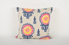 Suzani Ikat pillow in navy blue