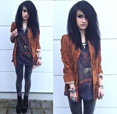 Spell Designs Fringe Jacket, Zara Necklace, Rebel Republic Top, Bracelets, Urban Outfitters Leggings