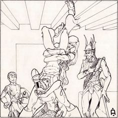 The party discusses the fair division of treasure. (Jeff Dee from D&D module B2 The Keep on the Borderlands, TSR, later printings dated 1981.)