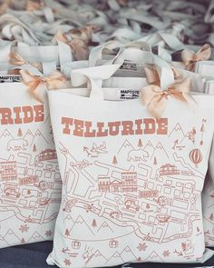 Bundles Gift Co. has curated these wedding welcome bags for a celebration in Telluride, CO!
