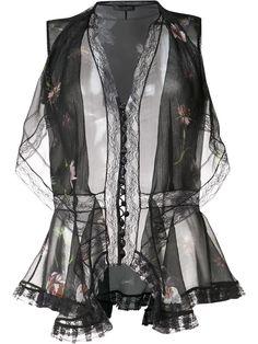 Alexander McQueen прозрачная блузка с цветочным принтом