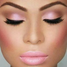 perfect pink eye make-up and cheeks, but I think a brighter bolder pink lipstick would be better