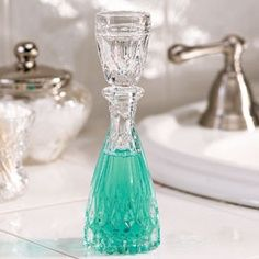 Putting mouthwash in a decanter