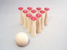 Kids will have hours of fun bowling with this Toadstool Skittles Mushroom Bowling Set. And its Eco-friendly too. Just $34.20 from the MuddyFeet Shop on Etsy. http://www.etsy.com/listing/69777645/holiday-sale-wood-toy-toadstool-skittles?ref=sc_2