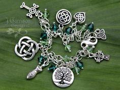 Celtic Knots Silver Charm bracelet w/ emerald & peridot green crystals...