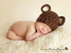 Baby Boy Hat, 0 to 3 Months Baby Boy Hat, Baby Boy Teddy Bear Hat, Chocolate Brown with Cream Ears. Newborn Photo Props. Baby Gift. Kids. via Etsy
