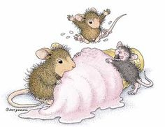 "Happy National Ice Cream Day! Mudpie, Monica & a friend featured on the The Daily Squeek® for July 20th, 2014. Click on the image to see it on a bunch of really ""Mice"" products."
