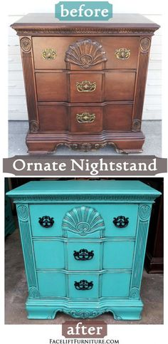 Ornate Nightstand Refinished in Turquoise with Black Glaze ~ Before & After. Find more painted, glazed & distressed inspiration on our Pinterest boards, or on the Facelift Furniture DIY blog.