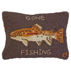 Gone Fishing Brown Trout Hooked Wool Rectangle Pillow
