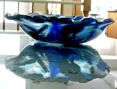 Fused Glass Bowl  Shades of Blue Bowl by Chris1 *I have one of these*