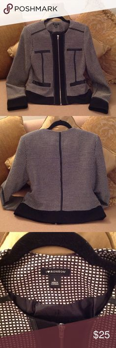 💞🌷💞 'I ❤️ Ronson.  Black / White Jacket Stylish and Polished 'I ❤️ Ronson waist length jacket. Size 12. Very sharp. Perfect for business, speaking engagements, church, weddings etc. just pair it up with black pants or skirts. Heels or boots. So nice!!! 'I Love Ronson' Jackets & Coats Blazers