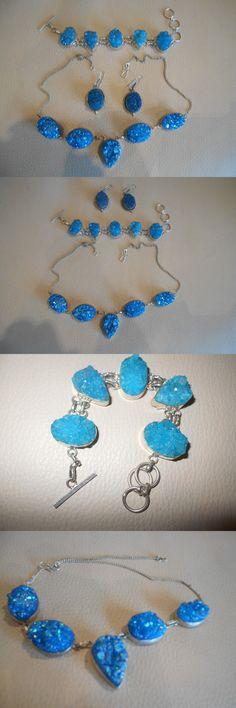 Sets 34071: Bnwt Hawaiian Royal Blue Druzy Sterling Silver Necklace, Bracelet, Earrings Set! -> BUY IT NOW ONLY: $175 on eBay!