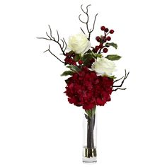 Features: -Lovely mix of holiday cheer and color. -Glass vase with liquid illusion faux water. Product Type: -Floral Arrangements. Color: -Red; White. Size: -Small. Flower: -Mixed. Container Fi