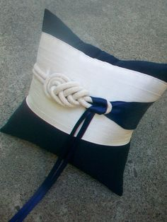 Off White and Navy Nautical Ring Bearer Pillow with Decorative Rope Knot and Satin Ribbons: Dark Blue Ring Pillow, Marine Wedding Pillow