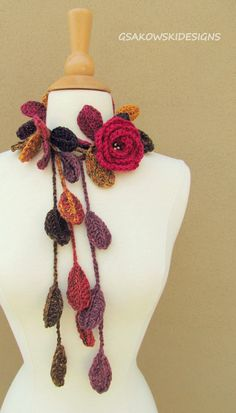 This romantic crocheted lariat is all about femininity and beauty. You can wear it as a necklace, lariat, scarf, scarflette, headband or you can