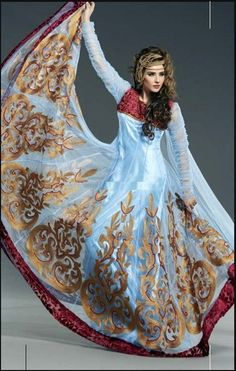 How cute would this be as a cultural fusion wedding dress (cream base, instead of sky blue)?