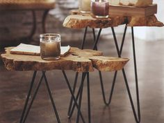 table en rondin de bois rustique idee deco diy tronc arbre