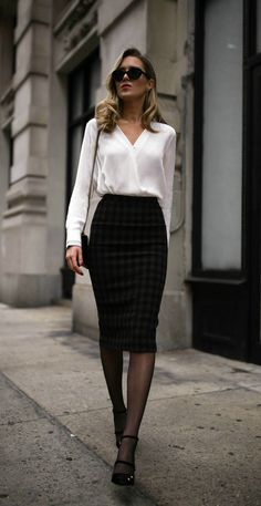 Classic white blouse, plaid midi skirt, black strappy Mary Jane pumps, cat eye sunglasses, geometric bar earrings, geometric bar necklace, diamond pendant necklace, gold tribar cuff and a black leather cross body bag. {AUrate New York, Rag and Bone, ALC, Jimmy Choo, Gucci, fall fashion, winter style, midi skirt, fine jewelry, affordable fine jewelry, wear to work, office style, professional style, classic style, fashion blogger}