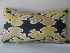 Kelly Wearstler Bengal Bazaar Bronze Decorative Pillow Cover - Lumbar Pillow - Throw Pillow - Accent Pillow - Linen - Solid Back Ikat Pillows, Toss Pillows, Accent Pillows, Kelly Wearstler, Well Thought Out, Decorative Pillow Covers, Bengal, Lumbar Pillow, Grey And White