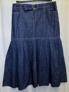 "Old Navy 16 1x Denim Jean Skirt 39 x38"" Long Maxi Modest Pleated flare Bottom…"