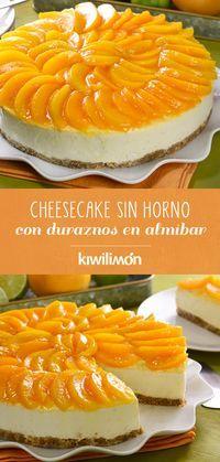 Cheesecake Sin Horno Con Duraznos En Almíbar Receta Postres Sin Hornear Cheesecake Sin Horno Comidas Dulces
