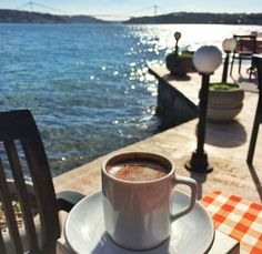 Morning coffee by the shore