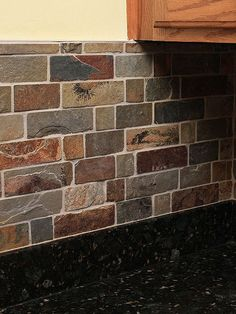 Slate Mosaic Tile 1x1 Pinterest Kitchen Backsplash And