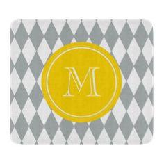 Gray White Harlequin Pattern, Yellow Monogram Cutting Board