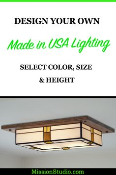 Mission Light Fixtures Custom Handmade in the U. Decorate your Living Room, Bedroom and Foyer with our Flush Mission Lighting. Bathroom Light Fixtures, Ceiling Light Fixtures, Ceiling Lights, Stained Glass Light, Stained Glass Designs, Mosaic Diy, Mosaic Glass, Flush Lighting, Cabin Lighting