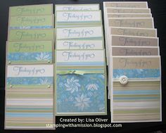 """12x12 sheets cut down. SUPER QUICK cards. Video included. Cut 4 pieces from white 8.5x11 that measure 4""""x5.25"""". Stamp sentiment at the top. Cut 4""""x4"""" pieces from 12x12 double sided coordinating paper. (you get 9 pieces) Stack those 9 pieces & cut off 3/4"""". Flip that 3/4"""" piece over. Adhere your now 3.25""""x4"""" & 3/4""""x4"""" pieces to the previously stamped white layer. Add ribbon. Adhere that to a color coordinating A2 card front."""