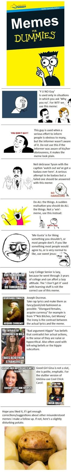 Memes for dummies - More Fun Here: http://funny-pictures-blog.com/?p=32547