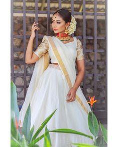 Half Saree Lehenga, Lehnga Dress, Lehanga Saree, Lehenga Dupatta, Churidar, Set Saree Kerala, South Indian Sarees, Kerala Saree Blouse Designs, Half Saree Designs