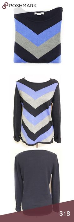 [Blue & Gray Liz Claiborne Pattern Light Sweater] •Long sleeve light sweater  •Black, blue, and gray colored •Liz Claiborne brand •Size Medium •60% cotton, 40% Polyester  •Made in China •Gently used •Solid color back •Pair with tights or jeans for a cute fall outfit! Liz Claiborne Sweaters